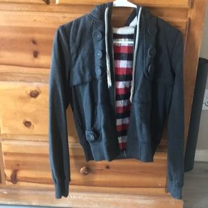 Grey plaid lined jacket